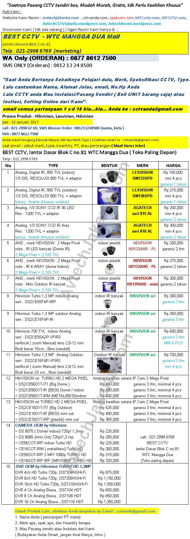 Promo Produk Hikvision, Lexvision, Hdvision, Agatech Per 10 Januari 2017 - WTC CCTV