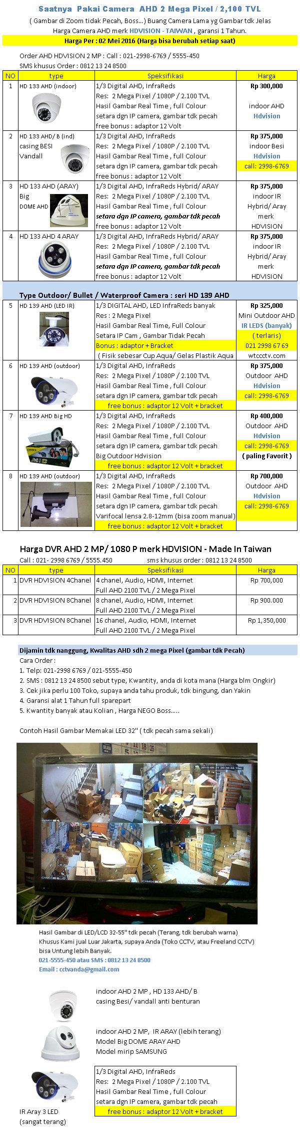 Harga AHD 2 MegaPixel merk HDVision per 02 Mei 2016 WTC CCTV